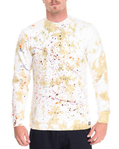 Buyers Picks - Men Khaki Tie - Dye Crewneck Sweatshirt