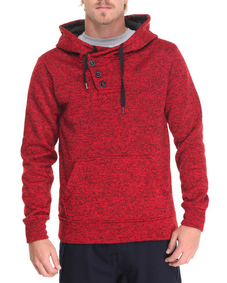 Buyers Picks - Men Red Heather Yarn Sweater Fleece Pullover Hoodie