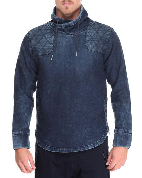 Buyers Picks - Men Blue Knit Denim Side - Zip Mock - Neck Sweatshirt