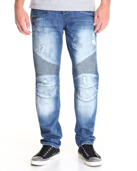 Buyers Picks - Men Medium Wash Radius Moto - Style Denim Jeans