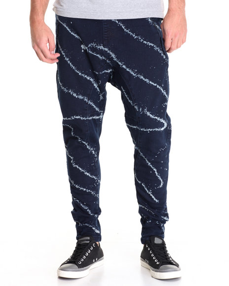 Buyers Picks - Men Dark Blue Color Splash Twill Monpe Jogger