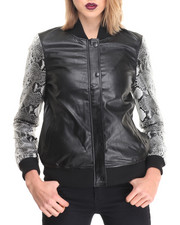 Women - Vegan Leather Baseball Jacket w/ Snake Skin Sleeve