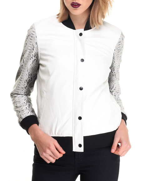La Belle Roc - Women White Vegan Leather Baseball Jacket W/ Snake Skin Sleeve