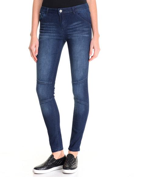 La Belle Roc - Women Blue Moto Jean