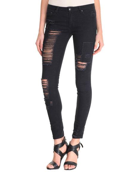 La Belle Roc - Women Black Ripped Skinny Jean