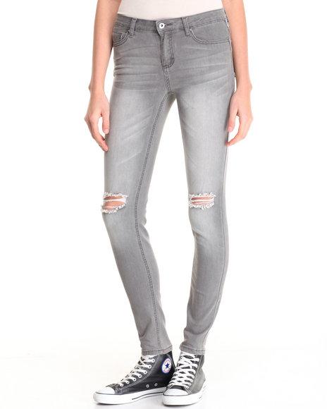 La Belle Roc - Women Grey Snake Skin Cigarette Length Jean