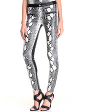 Women - Snake Skin Coming & Going Pu Pant