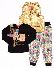 Apple Bottoms - 3 PC GOLDEN PUFFER VEST, TEE, & MEDALLION JOGGERS (2T-4T)