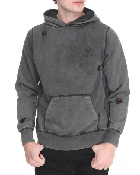 Civil - Men Charcoal Pigment Dye Distress French Terry Pullover