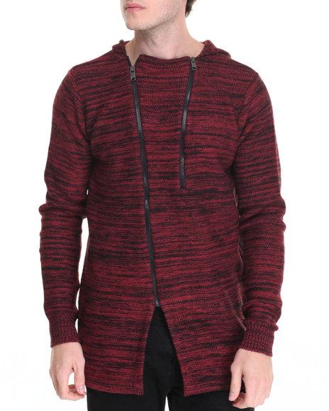 Buyers Picks - Men Red American Stitch Marled Dual Zip Long Hoodie