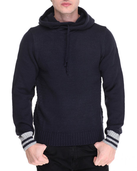 Buyers Picks - Men Navy American Stitch Texture Panel Pullover Hoodie