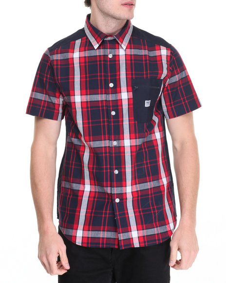 Parish - Men Navy S/S Plaid Button-Down