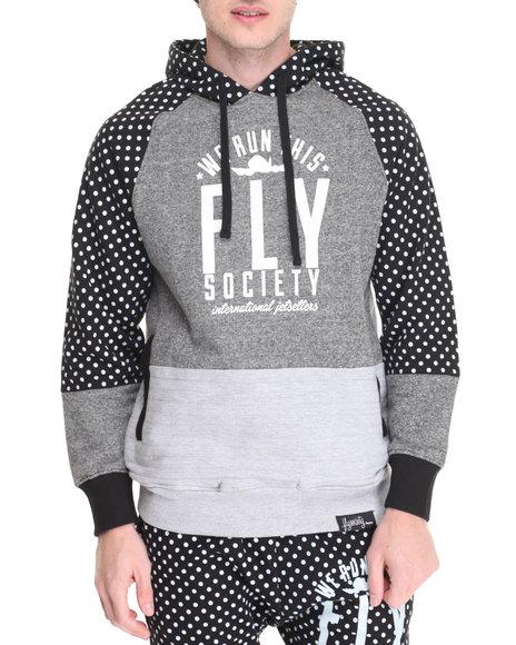 Flysociety - Men Grey Mixed Media Hoodie