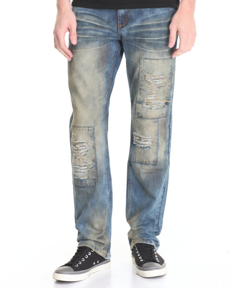 Flysociety - Men Medium Wash Fly Distressed Denim Jeans