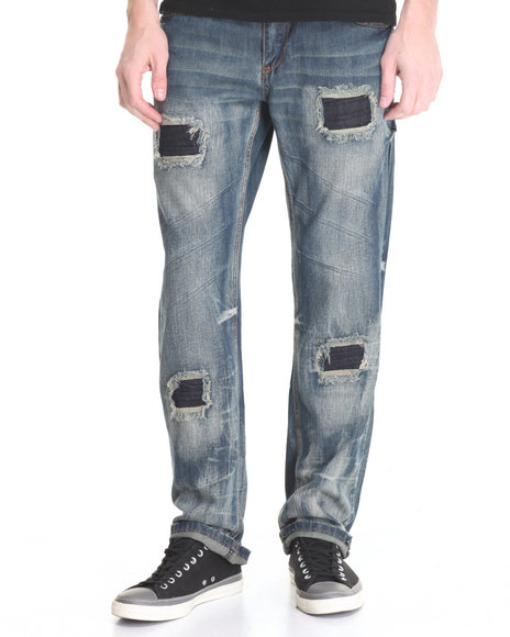 Flysociety - Men Dark Wash Fly Distressed Washed Denim Jeans