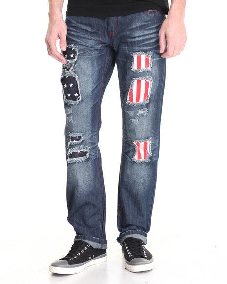 Flysociety - Men Medium Wash Distressed Flag Print Denim Jeans