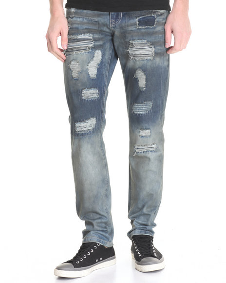 Buyers Picks - Men Light Wash Rip & Repair Denim Jeans