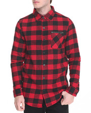 Buyers Picks - Plaid High - Low Zipper - Trimmed Button - Down