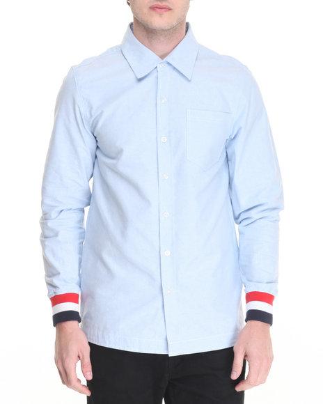 Buyers Picks - Men Light Blue Striped - Cuff Oxford L/S Button - Down