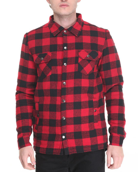 Buyers Picks - Men Red Buffalo Plaid Fishtail Button - Down