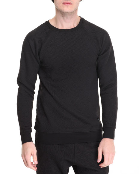 Vsop - Men Black Thor Quilted Crew Sweatshirt