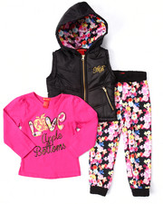 Apple Bottoms - 3 PC PUFFER VEST, TEE, & FLORAL JOGGERS (2T-4T)