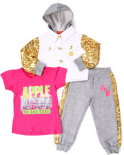 Apple Bottoms - 3 PC SEQUIN TRIM JOGGER SET (2T-4T)