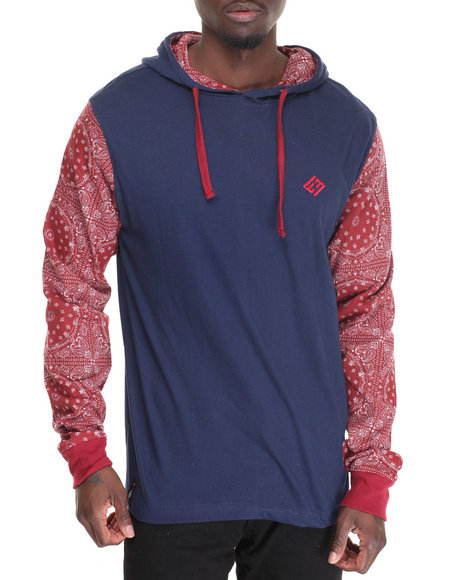 Enyce - Men Navy Daz L/S T-Shirt Hoodie
