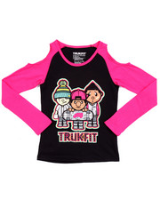 T-Shirts - COLD SHOULDER TRUKFIT TEE (7-16)