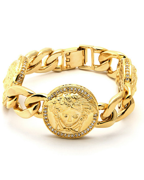 King Ice Men Medusa Cz Bracelet Gold