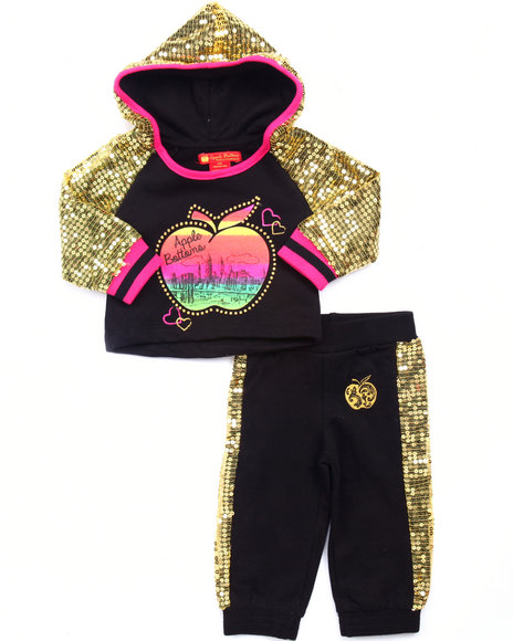 Apple Bottoms - Girls Black 2 Pc Sequin Trim Jogger Set (Infant)