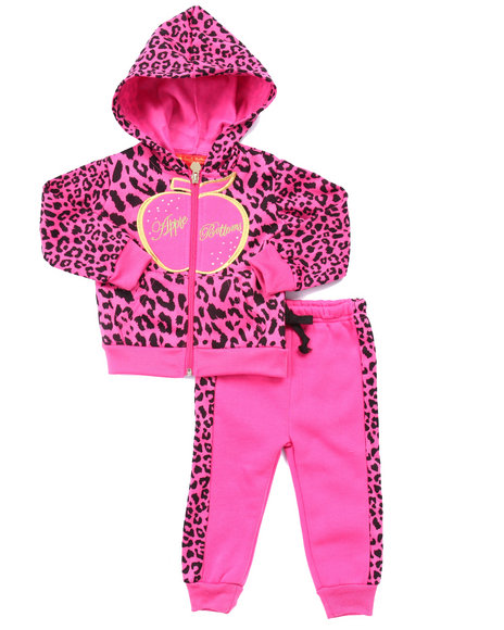 Apple Bottoms - Girls Pink 2 Pc Animal Print Jogger Set (Infant)