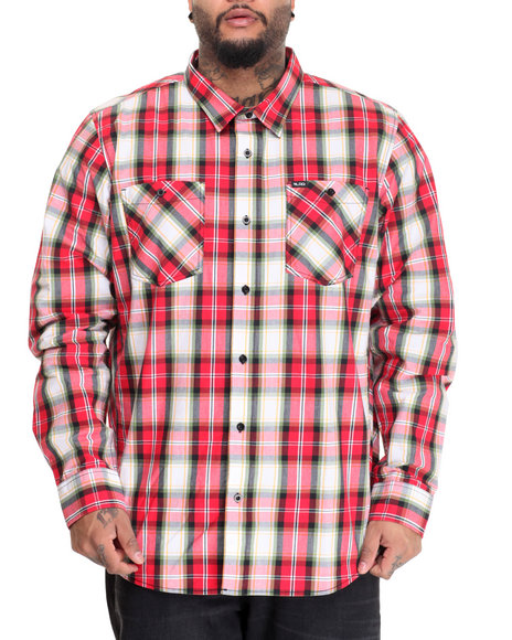 Lrg Men Unity L/S Button-Down (B&T) Red 4X-Large