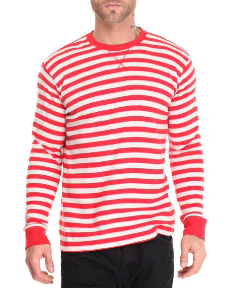 Basic Essentials - Men Red Basic Striped L/S Thermal