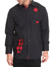 Basic Essentials - Buffalo Plaid - Trimmed L/S Button-Down