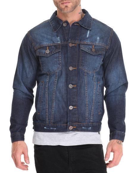Basic Essentials - Men Medium Wash Western - Style Denim Jacket
