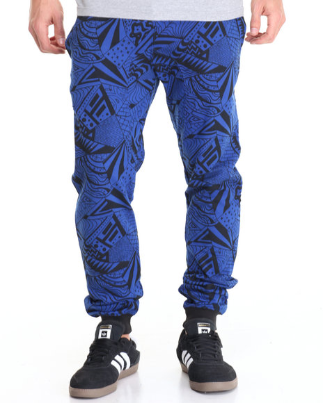 Basic Essentials - Men Blue Radical Printed Fleece Joggers