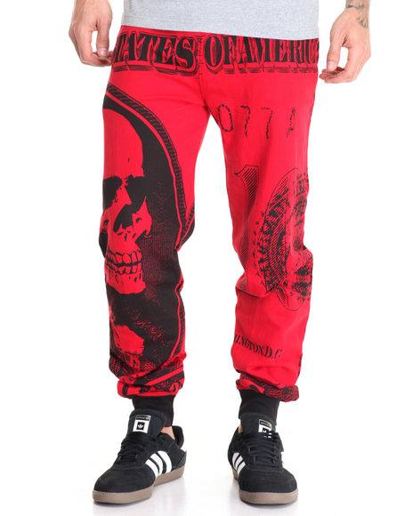Basic Essentials - Men Red Dollar Bill Y'all Printed Fleece Joggers