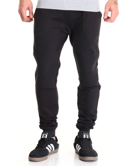 Basic Essentials - Men Black Moto - Style Fleece Joggers