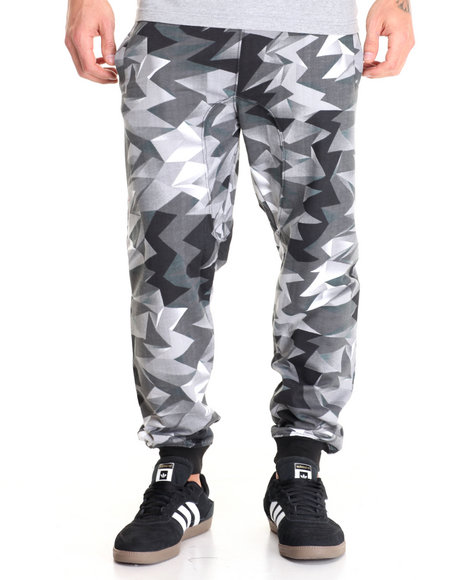 Basic Essentials - Men Black Crystal - Print Fleece Joggers