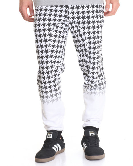 Basic Essentials - Men Black Houndstooth Fleece Joggers