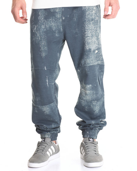 Basic Essentials - Men Blue Uptown Funk Denim - Print Fleece Joggers