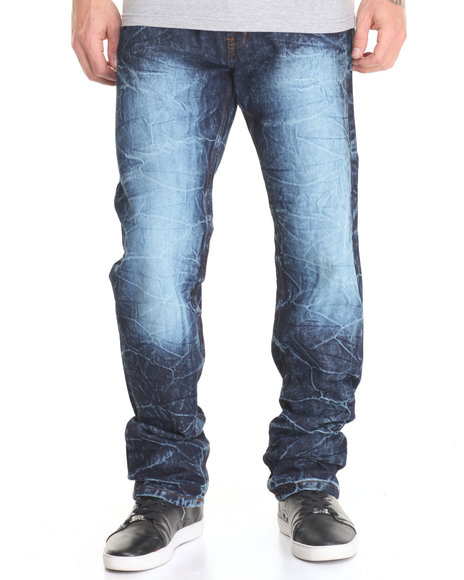Basic Essentials - Men Dark Wash Mineral - Wash Denim Jeans