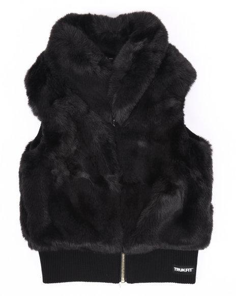 Trukfit - Girls Black Faux Fur Vest (7-16)
