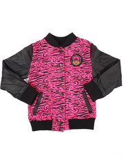 Light Jackets - PRINTED VARSITY JACKET W/ FAUX LEATHER SLEEVE (7-16)