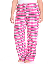 Plus Size - Boxy Plaid Yarn Dyed Flannel Pants (Plus)