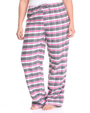 Women - Boxy Plaid Yarn Dyed Flannel Pants (Plus)