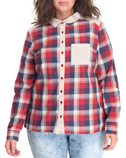 Women - Button Down Top w/Rolled Up Tab (plus)
