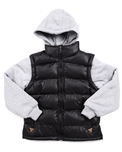 Arcade Styles Boys Mountainer Bubble Vest W Knit Hood & Sleeves Black Small