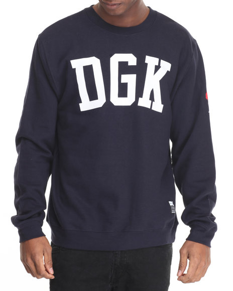 Dgk - Men Navy American Icon Crew Fleece Sweatshirt - $48.99